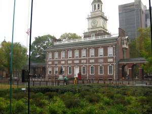 Independence Hall, seen from inside the Liberty Bell building