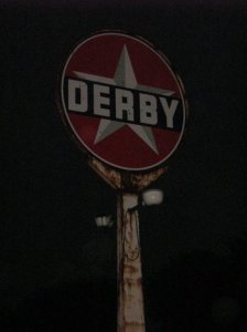 Derby gas station sign in St. James, MO.