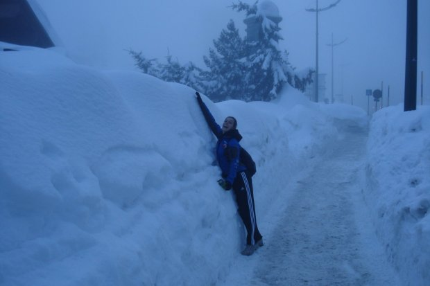 Annie with more snow than she's ever seen! Cesana, Italy.