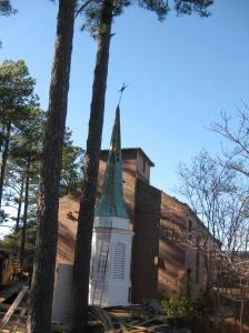 Steeple in front of the church.