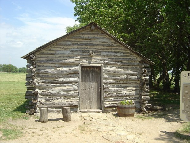 Little House on the Prairie. The log cabin reconstruction of the Ingalls' home in Indian Territory near Independence, Kansas.