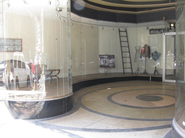 Kessler's storefront - quite impressive! Note the matching floor and ceiling swirl and curved glass windows