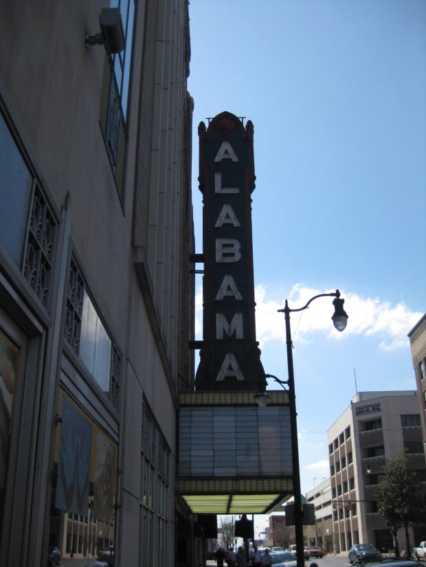Walking on the same side of the street as the Alabama Theater is located offered no indication of the grand interior.