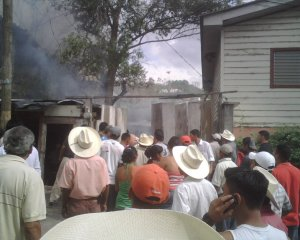 View of the fire: Straight ahead is the workshop, to the left is one the storefronts.