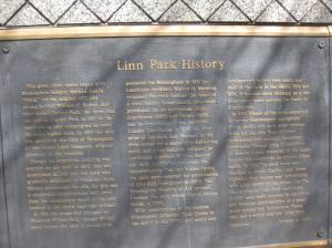 Linn Park History, as seen on plaque in park