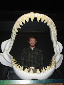 Me in the real Megalodon jaw. Courtesy of Brad Hatch.