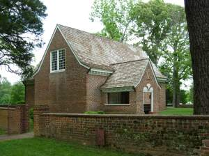Yeocomico Church showing the boundary wall for the original churchyard.  Photograph courtesy of Brad Hatch.