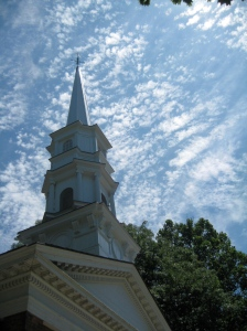The steeple of the Martha-Mary Church that Henry Ford built for his mother and mother-in-law.