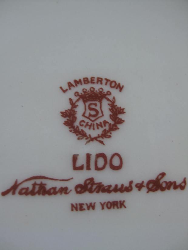 The back of the bowls. Lamberton China - Lido - Nathan Straus & Sons - New York.