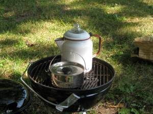 Campfire coffee (with water boiling for morning oatmeal).