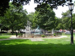 Lunch in the park in Wellsboro PA.