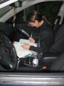 Record keeping: making sure the addresses and photo images match.  (Photograph courtesy of Emily Morgan.)