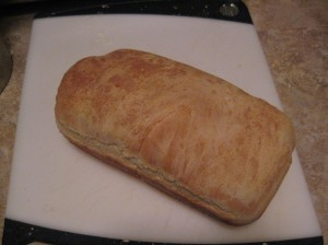 Bread loaf #4. Still not impressive looking, but tasted great.