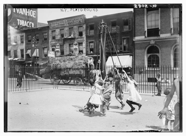 Another Giant Stride - at a playground in New York City, ca. 1910-1915. Source: Library of Congress, Prints & Photographs Division (click).