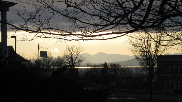 Overlooking Burlington and the Adirondacks at sunset in December 2009.