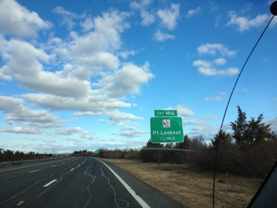 The Meadowbrook Parkway and the exit to Loop Parkway heading to Point Lookout, NY.