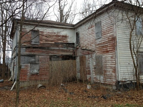 Rear of the house, where a porch previously existed.