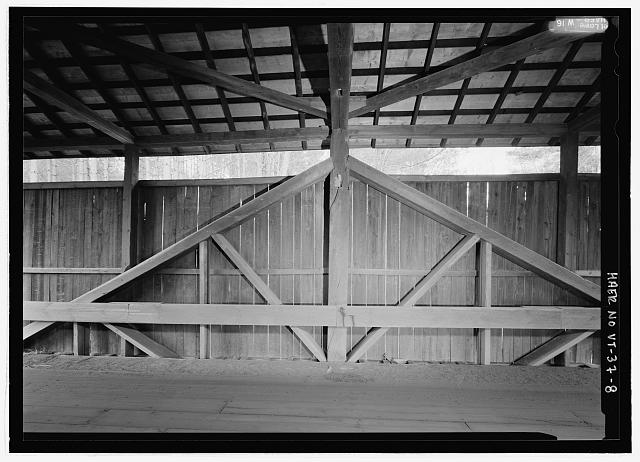 Pine Brook Bridge in Fayston, VT: A king post truss bridge. Source: Library of Congress. Click for source.