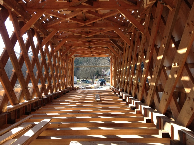 The Bartonsville Covered Bridge under construction, December 2012.