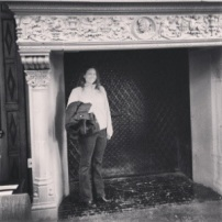 Katie fits in the fireplace at Salve Regina University!