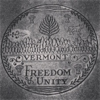 The Vermont State seal at the Guilford, VT rest area.