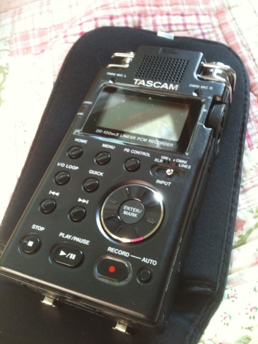 A digital recorder for an oral history project.