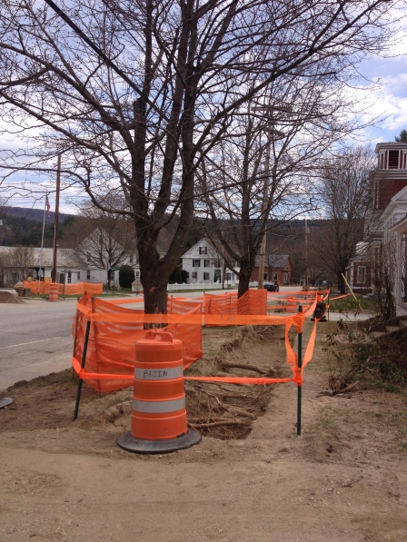 Historic preservation at work: sidewalk construction in Jamaica, VT.