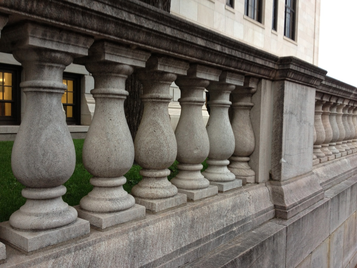 The ornamental railing on the lawn of the St. Paul Central Library, constructed in 1914.