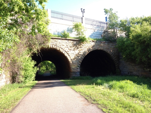 Seventh Street Improvement Arches, with the bike path.