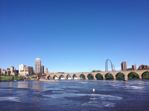 The Stone Arch Bridge and the Minneapolis skyline.