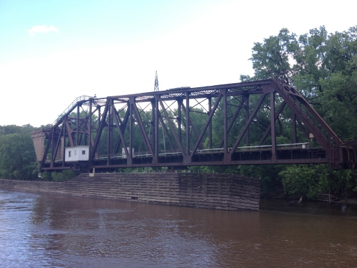 This is the Omaha Railway Swing Bridge, which the operator opened for us to see!