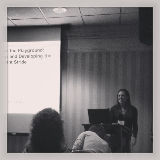 Presenting on the Giant Stride. Photo thanks to Raina Regan!