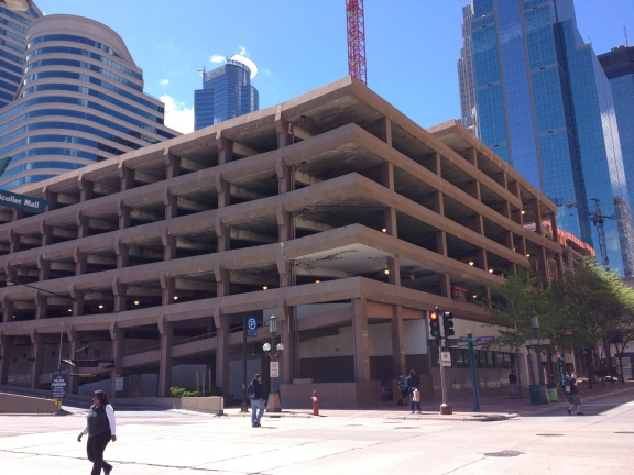 In Minneapolis, a parking garage (across the corner from the library) ... under some form of construction it seemed. A typical parking garage structure.