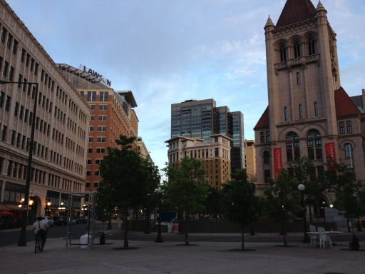 Downtown St. Paul, looking towards the St. Paul Hotel, the conference home base.