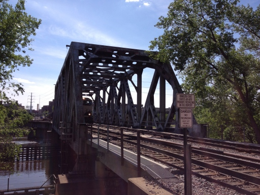 Railroad bridge through Nicollet Island.