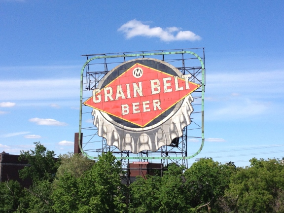 Grain Belt Beer in Minneapolis, as seen from the Hennepin Avenue Bridge.