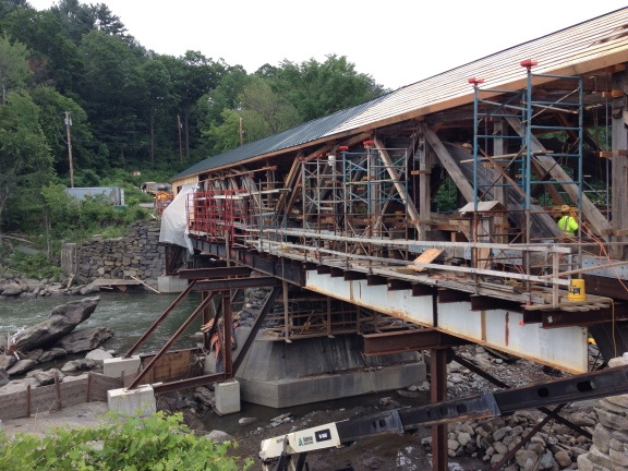 The Taftsville Covered Bridge undergoing rehabilitation.