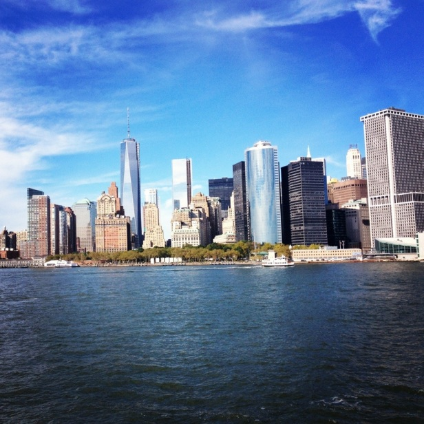 The view from the Staten Island Ferry, looking to the Manhattan skyline.
