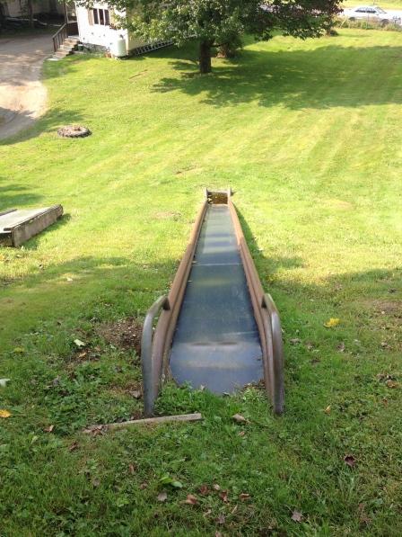 Backyard Hill Slide : Waterville, Vermont Playground ? Preservation in Pink