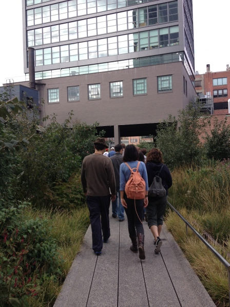Some areas of The High Line are narrow like this and traverse under buildings.