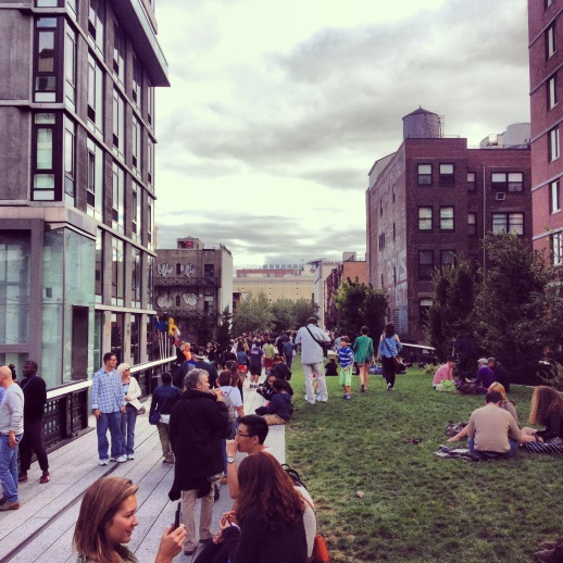 Other areas of The High Line are wide and have grassy areas like this one where visitors can relax and enjoy the scenery, like in any park.