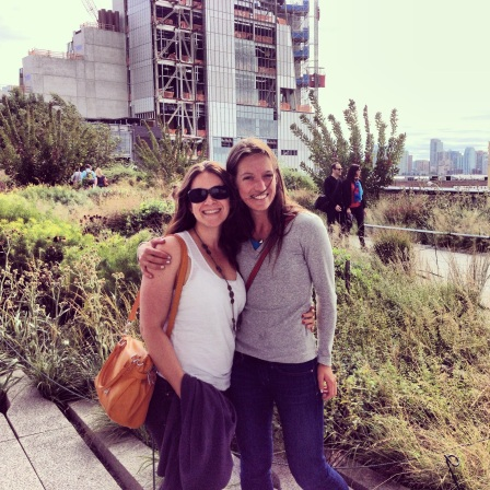 Laurel and me on The High Line, fellow flamingos.