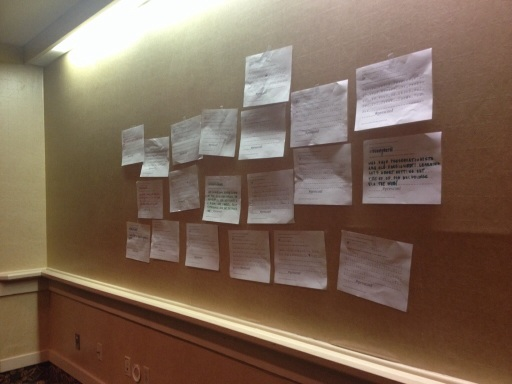 Our analog Twitter wall!