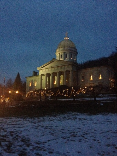The Vermont State House prior to the start of the tree lighting ceremony.