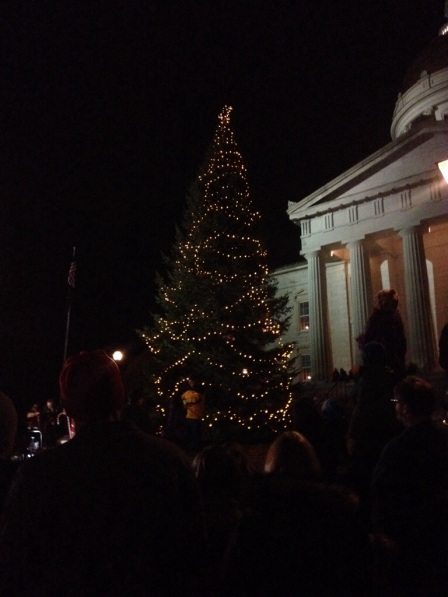 And the tree is lit!