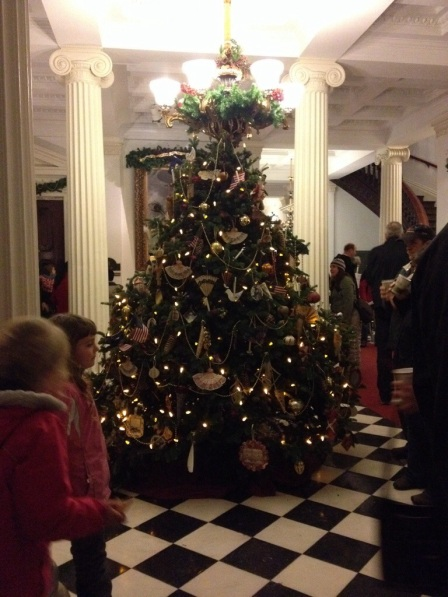 The tree inside the State House was decorated by volunteers.