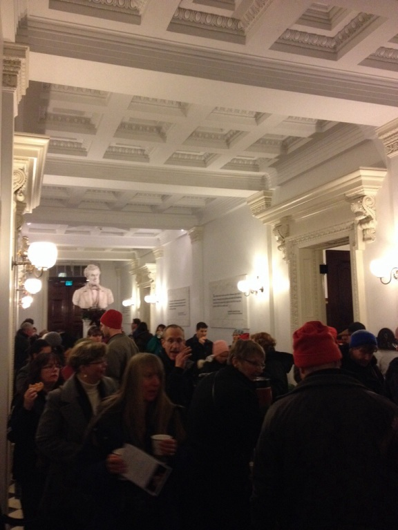 The State House demonstrates beautiful Greek Revival architecture. The ceiling is spectacular. Here everyone is enjoying cookies and cider in the main foyer.