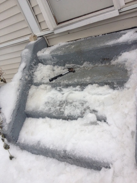 The front steps became a slide of ice!