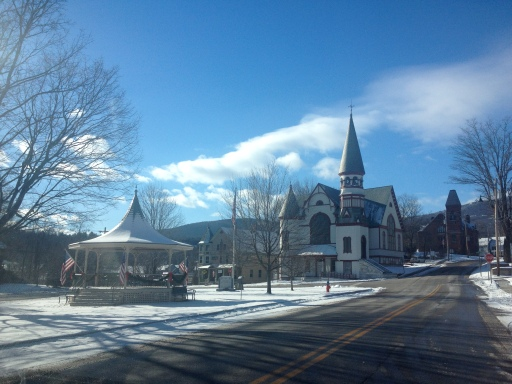 Ludlow, VT with Okemo Mountain in the background.