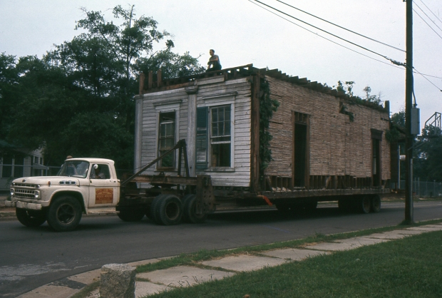 The Granite Hill Plantation house being moved in 1968. Photo courtesy of Chad Carlson.